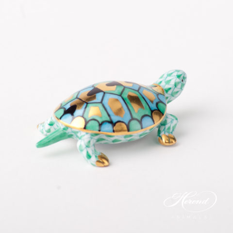 "Turtle 15508-0-00 VHV Green Fish scale design. Herend Fine china animal figurine. Hand painted. Length 6.5 cm (2.5""L)."