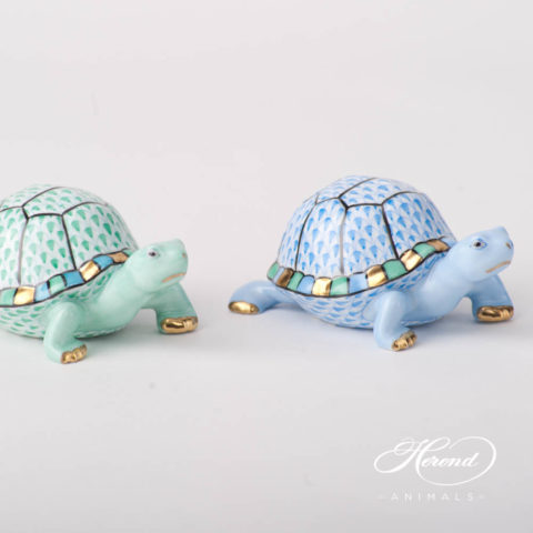 "Turtle 5508-0-00 VHV Green and VHB Blue Fish scale design. Herend fine china animal figurine. Hand painted. Length: 9.5 cm (3.75""L)."