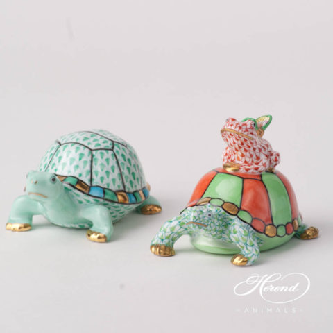 "Turtle 5508-0-00 VHV Green and Turtle 15069 VHV2 Fish scale design. Herend fine china animal figurine. Hand painted. Length: 9.5 cm (3.75""L)."