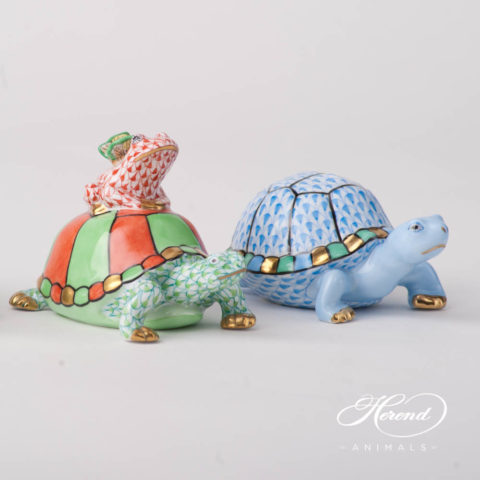 "Turtle 15069 VHV2 and 5508-0-00 VHB Blue Fish scale design. Herend fine china animal figurine. Hand painted. Length: 9.5 cm (3.75""L)."