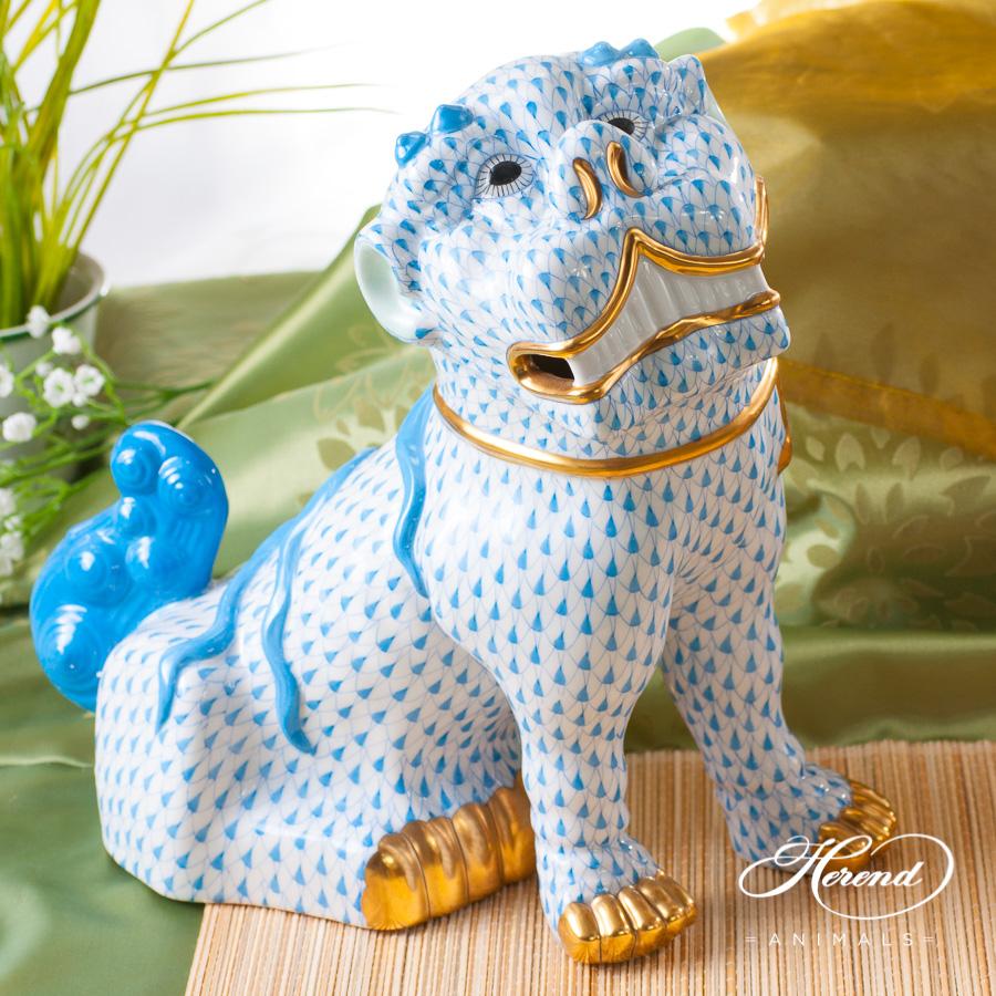 "Fo Dog Big 15295-0-00 VHB Blue fish scale decor. Herend fine china animal figurine. Hand painted. Height 25.5 cm (10""H)"