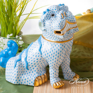 "Fo Dog Big 15295-0-00 VHB Blue fish scale decor. Herend fine china animal figurine. Hand painted. Height 25.5 cm (10""H)"