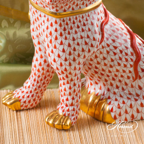 """Fo Dog Big 5308-0-00 VHR Red fish scale decor. Herend fine china animal figurine. Hand painted. Height 25.5 cm (10""""H)"""