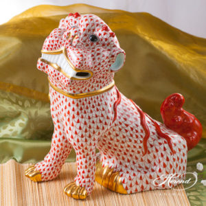 "Fo Dog Big 5308-0-00 VHR Red fish scale decor. Herend fine china animal figurine. Hand painted. Height 25.5 cm (10""H)"