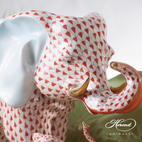 "Big Elephant 5214-0-00 VHR Red Fish scale decor. Herend Fine china animal figurine. Hand painted. Height: 24.7 cm (9.75""H) Length: 34.2 cm (13.5""L)"