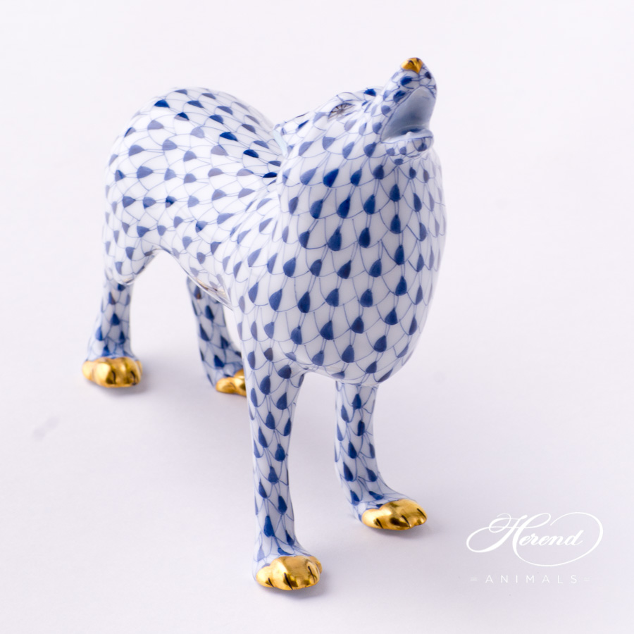 "Wolf 15689-0-00 VHFB Navy Blue Fish Scale design. Herend fine china animal figurine. Handpainted. Length: 14.5 cm (5.75""L)."