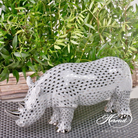 """Unicorn 15359-0-00 VHR Red Fish scale decor. Herend fine china animal figurine. Unicorn is a Mythical Animal. Hand painted. Height: 8.2 cm (3.25""""H)"""