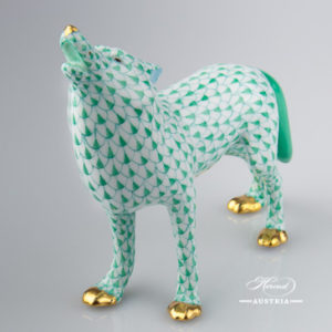 "Wolf 15689-0-00 VHV Green Fish Scale design. Herend fine china animal figurine. Handpainted. Length: 14.5 cm (5.75""L)."