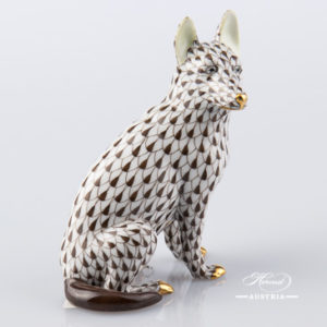 "German Shepherd Dog 15877-0-00 VHBR1 Brown Fish Scale decor. Herend Fine china hand painted. German Shepherd dog animal figurine. Height: 10.5 cm (4""H)"