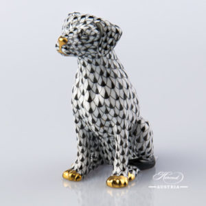 "Dog - Seated 15566-0-00 VHNM Black Fish Scale decor. Herend Fine china hand painted. Dalmatian dog animal figurine. Height: 10.0 cm (3.75""H)"