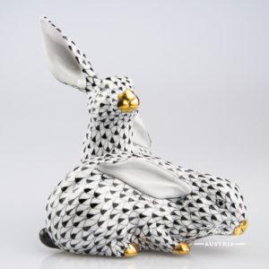 Pair of Rabbits 5269-0-00 VHNM Black - Herend Animal Figurine