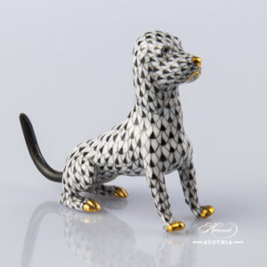 "Dog 15509-0-00 VHNM Black Fish Scale decor. Herend Fine china animal figurine. Hand painted. Length: 10.0 cm (4""L)"