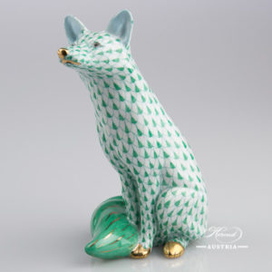"Seated Fox 15382-0-00 VHV Green Fish scale decor. Herend fine china animal figurine. Hand painted. Height: 13.5 cm (5.25""H)"
