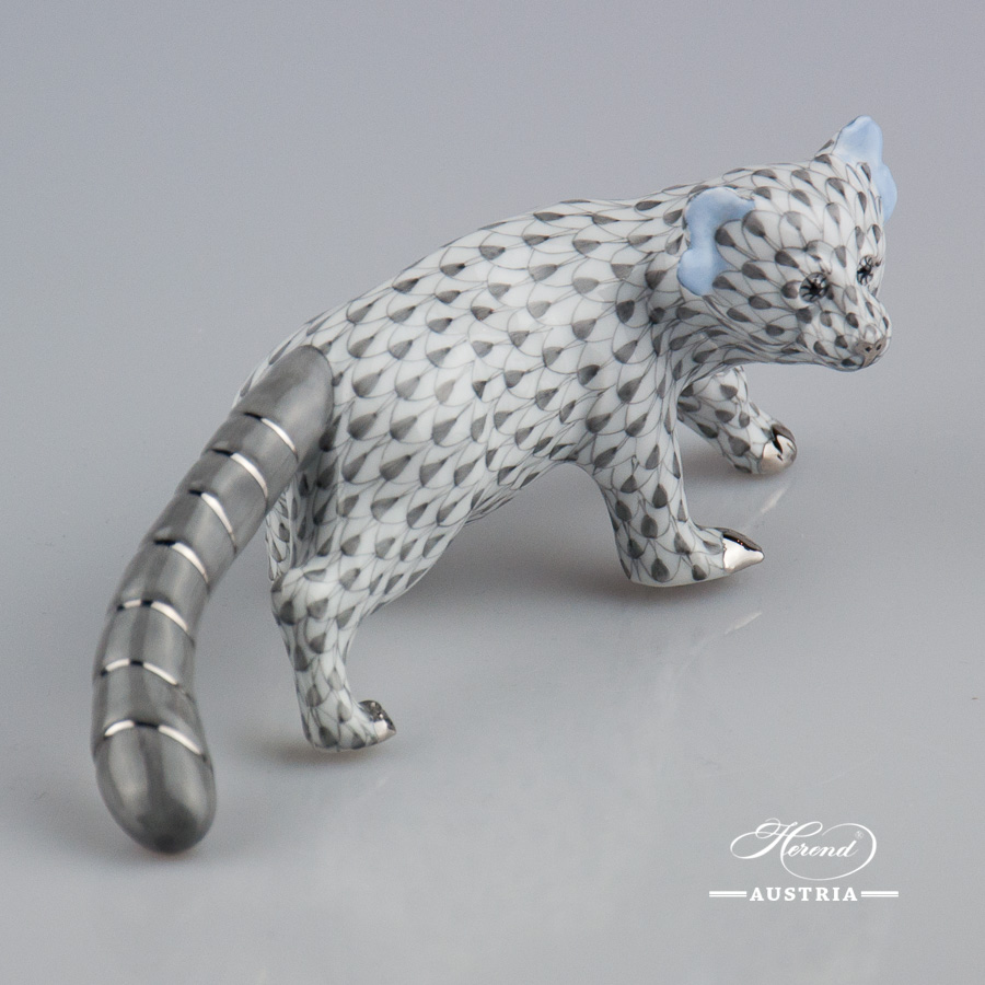 "Bear - Red Panda 15637-0-00 VHG-PT Gray fish scale with Platinum decor. Herend Fine china animal figurine. Hand painted. Length 17 cm (6.75""L)"