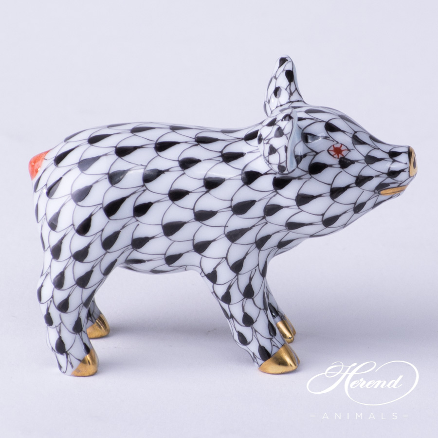"Small Pig 5352-0-00 VHN Black Fish scale decor. Herend Fine china animal figurine. Hand painted. Length: 5.0 cm (2""L)"