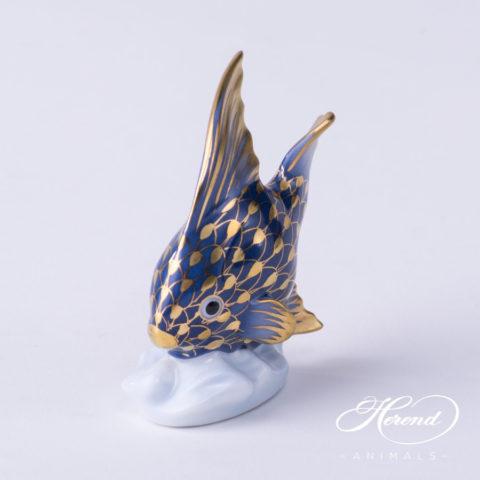 "Fish 15893-0-00 VHFB-PT Navy Blue with Platinum - Herend Fine china Animal Figurine. Hand painted. Height: 10.5 cm - (4.1""H)."