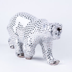"Big Polar Bear 5299-0-00 PTVH Platinum Fish scale decor. Herend Fine china animal figurine. Hand painted. Length: 40.0 cm (16""L)"