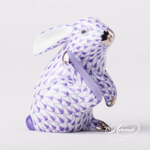"Rabbit 15387-0-00 VHL-PT Lilac fish scale with Platinum decor. Herend fine china animal figurine. Hand painted. Height: 7.5 cm (3""H)"