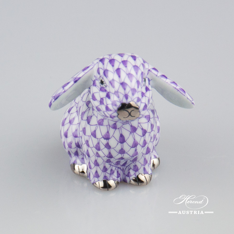 "Rabbit 15091-0-00 VHL-PT Lilac fish scale with Platinum decor. Lop Ear Bunny. Herend fine china animal figurine. Hand painted. Height: 5.0 cm (2""H)"