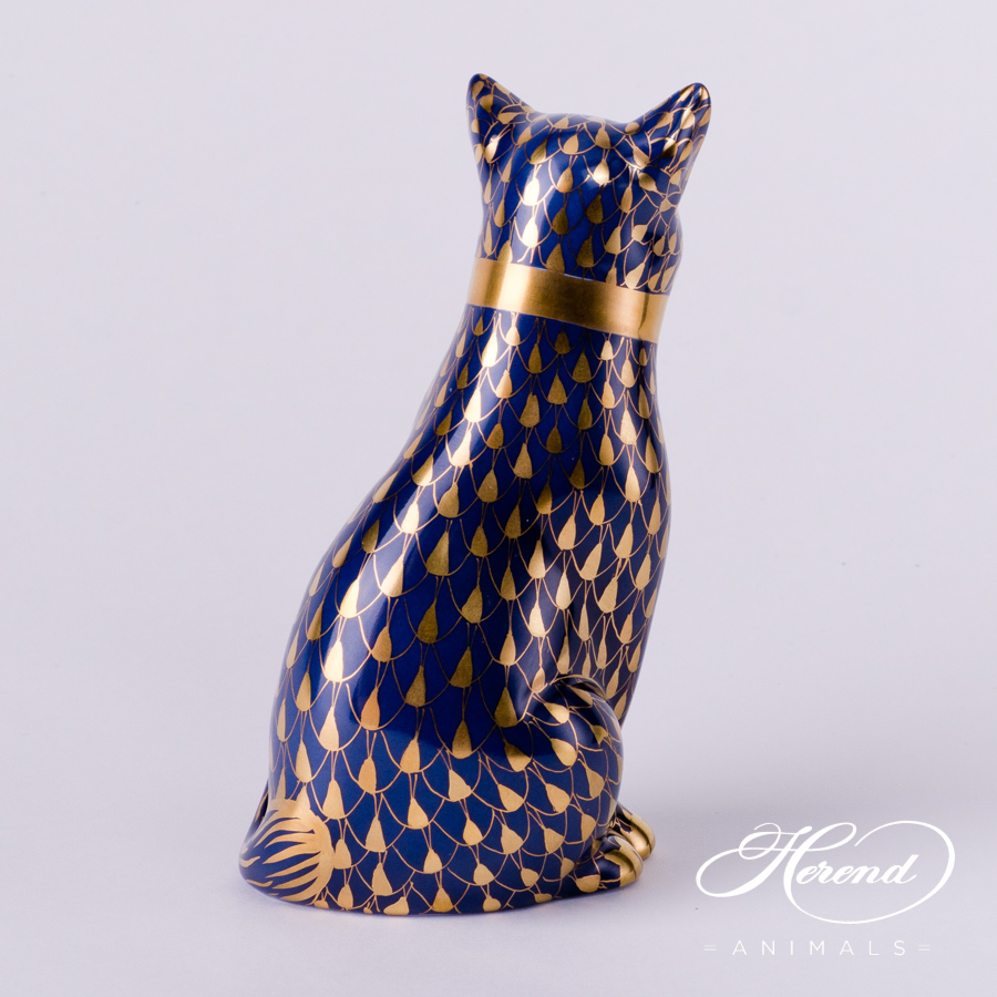 "Cat with Ribbon 15319-0-00 VHB-OR Navy Blue and Gold Fish Scale decor. Herend Fine china animal figurine. Hand painted. Height: 11.8 cm (4.75""H)"
