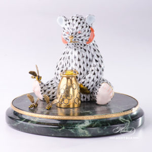 "Jewelled Bear on Marble Base - Bear 15361-0-00 VHN Black      Fish scale decor. Herend fine china animal figurine. Hand painted. Height 11.5 cm (4.5""H)"