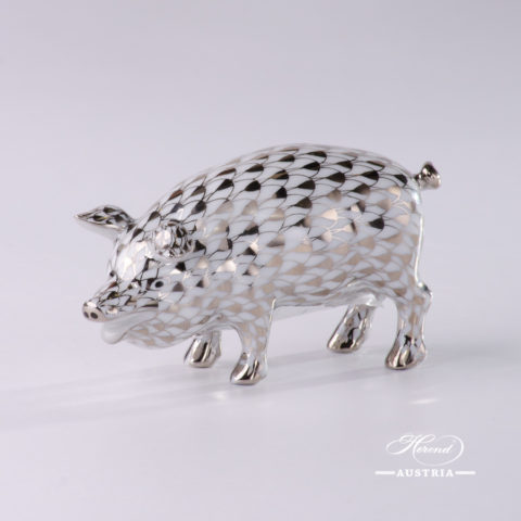 "Pig 15301-0-00 PTVH Platinum Fish scale decor. Herend Fine china animal figurine. Hand painted. Length: 8.5 cm (3.5""L)"