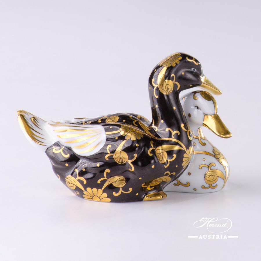 Pair of Ducks 5036-0-00 SBCN-OR Gold - Herend Fine china Animal Figurine