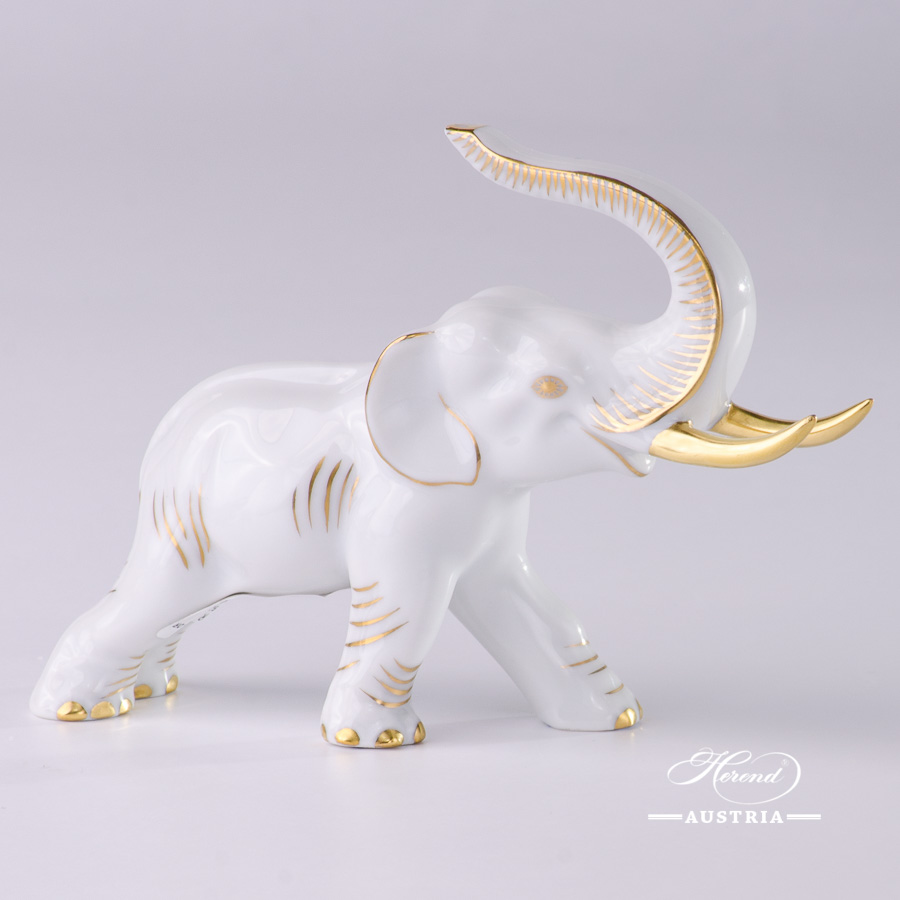 """Elephant 5266-0-00 A-OR White and Gold decor. Herend fine china hand painted. Herend animal figurine. Length: 12.5 cm (5""""L)"""