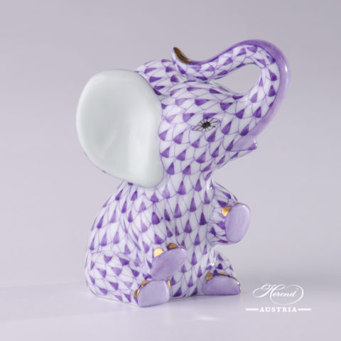 "Baby Elephant 15511-0-00 VHL Lilac Fish scale decor. Herend Fine china animal figurine. Hand painted. Height: 7.2 cm (2.75""H)"
