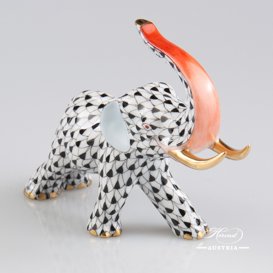 "Elephant 5266-0-00 VHN Black Fish scale decor. Herend fine china hand painted. Herend animal figurine. Length: 12.5 cm (5""L)"