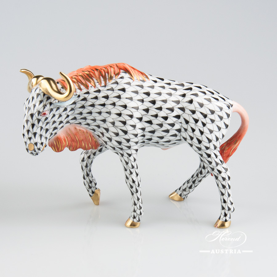 Gnu 15632-0-00 VHN Black - Herend Fine china Animal Figurine