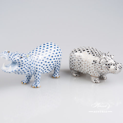"""Hippo figurines 15851-0-00 VHFB Navy Blue and 15332-0-00 PTVH Platinum Fish scale decors. Herend Fine china animal figurines. Hand painted. Length 14.0 cm (5.5""""L) and 11.2 cm (4.5""""L)"""