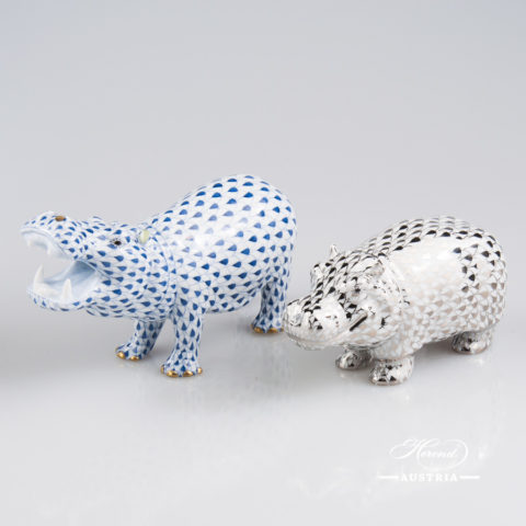 "Hippo figurines 15851-0-00 VHFB Navy Blue and 15332-0-00 PTVH Platinum Fish scale decors. Herend Fine china animal figurines. Hand painted. Length 14.0 cm (5.5""L) and 11.2 cm (4.5""L)"