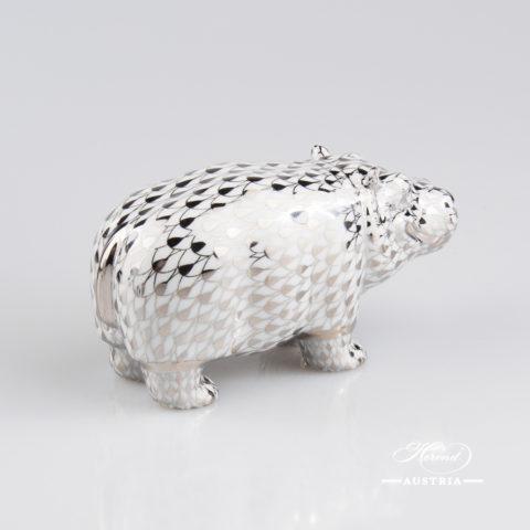 "Hippo 15332-0-00 PTVH Platinum Fish scale decor. Herend Fine china animal figurine. Hand painted. Length: 11.2 cm (4.5""L)"
