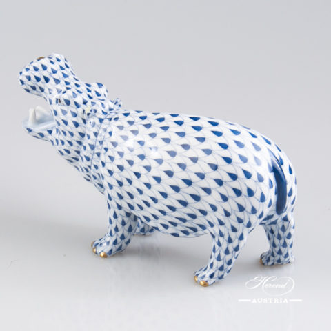 "Hippo 15851-0-00 VHFB Navy Blue Fish scale decor. Herend Fine china animal figurine. Hand painted. Length 14.0 cm (5.5""L)"