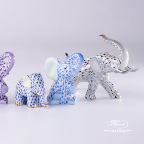 Elephant Animal Figurines: AOR - VHL - VHFB - VHB - PTVH Fish scale patterns. Herend Fine china hand painted