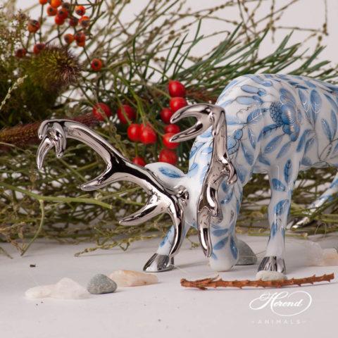 Deer 15592-0-00 VHN Black and ZOBA-PT Blue - Herend Animal Figurines