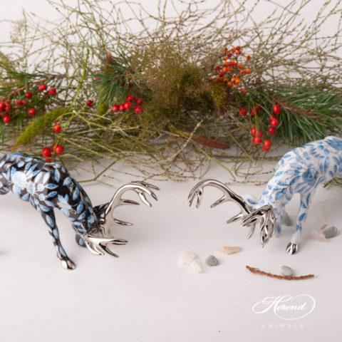 """Deer / Stag animal figurines - Herend ZOBA-FN-PT and ZOBA-PT designs. Herend fine china animal figurines. Handpainted. Length: 20 cm (8""""L)."""