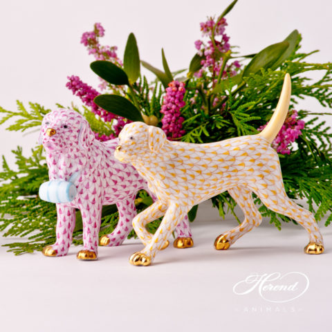Dog Figurines - Herend Fish Scale patterns. St. Bernard and Labrador animal figurines.