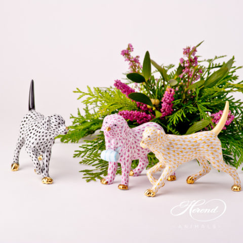 Dog Figurines - Herend Fish Scale patterns. Labradors and St. Bernard animal figurines.