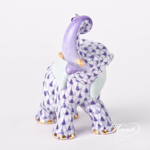 """Elephant 15266-0-00 VHL Lilac fish scale decor. Herend fine china animal figurine. Hand painted. Height: 8.5 cm (3.5""""H)"""