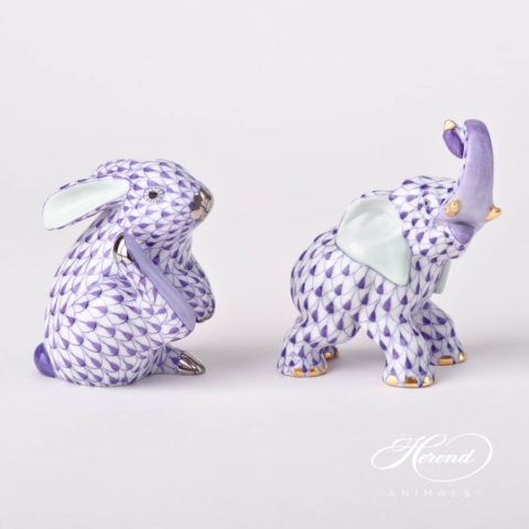 "Elephant 15266-0-00 VHL Lilac fish scale decor. Herend fine china animal figurine. Hand painted. Height: 8.5 cm (3.5""H)"