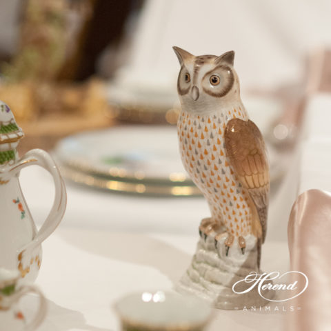 """Owl - Bubo Maximus 15727-0-00 VHSP49 Special Fish scale decor. Herend Fine china animal figurine. Hand painted. Height 24.5 cm (10""""H)"""
