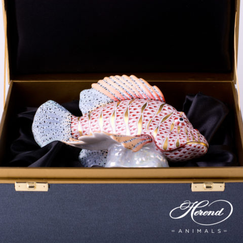 Lionfish 5725-0-00 VHSP67 Special Multicolor Fishscale decor - Herend Fine china animal figurine.
