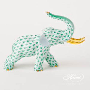 "Boxer Dog 15565-0-00 VHV Green Fish scale decor. Herend fine china animal figurine. Hand painted. Length: 11.8 cm (4.75""L)"