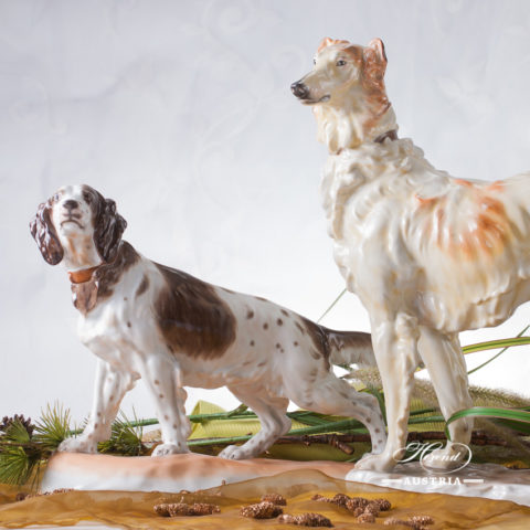 "Dogs - German Setter and Russian Greyhound Naturalistic decor. Herend Fine china animal figurine. Hand painted. Both are the same length: 40.5 cm (16""L)"