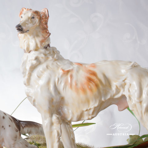 "Dog - Russian Greyhound 5358-0-00-C Naturalistic decor. Herend Fine china animal figurine. Hand painted. Length: 40.5 cm (16""L)"