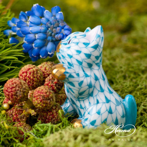 "Rabbit 15068-0-00 VHV Green Fish scale design. Herend fine china animal figurine. Handpainted. Height: 5 cm (2""H)."