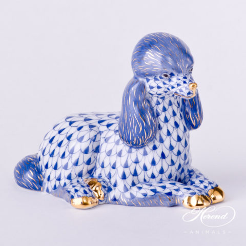 """Poodle Dog 15608-0-00 VHFB Navy Blue Fish Scale decor. Herend Fine china animal figurine. Hand painted. Height: 8.0 cm (3.25""""H)"""