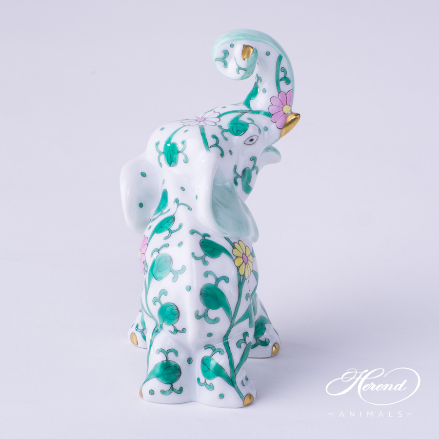 "Elephant 15266-0-00 SBC Special Green Flower design. Herend fine china hand painted. Herend animal figurine. Height: 8.5 cm (3.5""H)."